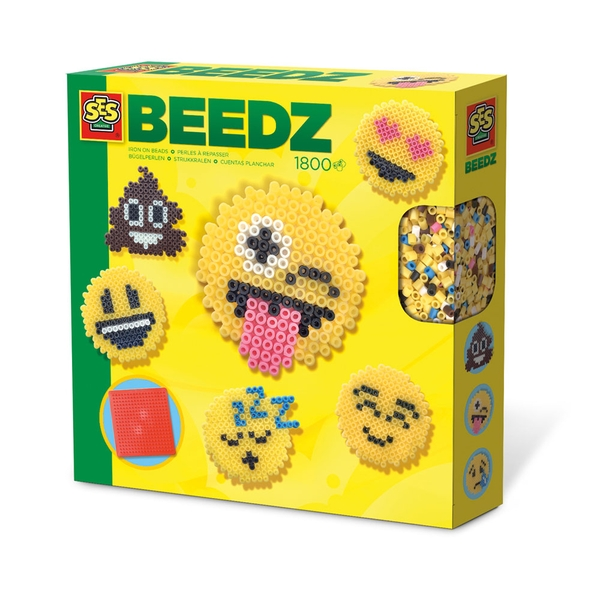 SES Creative - Children's Beedz Emoticons Iron-on Beads Mosaic Set 1800 Iron-on Beads Mix (Multi-colour)