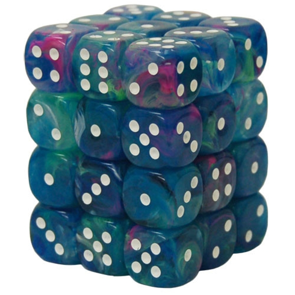 Chessex 12mm Dice Block: Festive Waterlily/White (36)