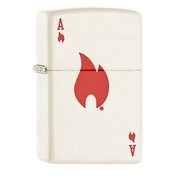 Zippo Ace And Flame Windproof Pocket Lighter White Matte
