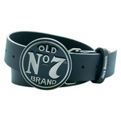 JACK DANIEL'S Leather Belt with Classic Old No.7 Circular Black Belt Buckle, Extra Large