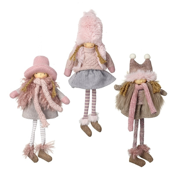 Girls With Pink Hats Decorations by Heaven Sends (Set of 3)
