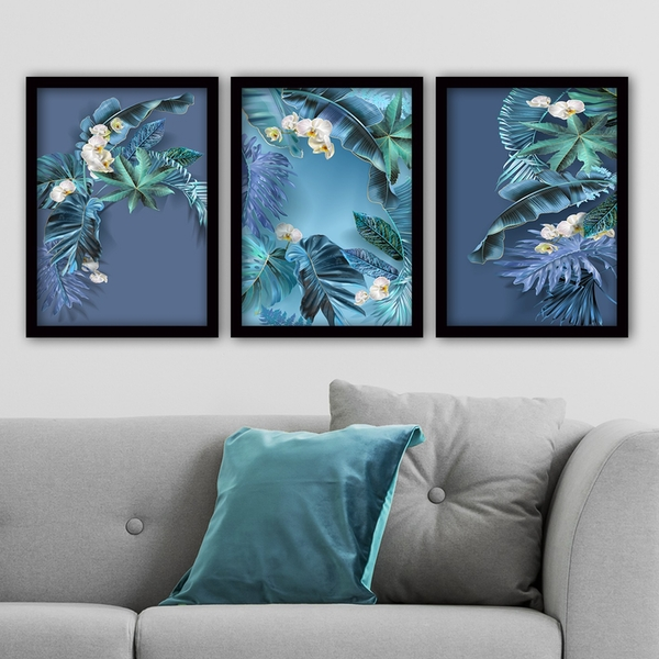 3SC93 Multicolor Decorative Framed Painting (3 Pieces)