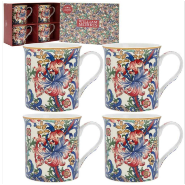 Golden Lily Mugs Set Of 4 By Lesser & Pavey