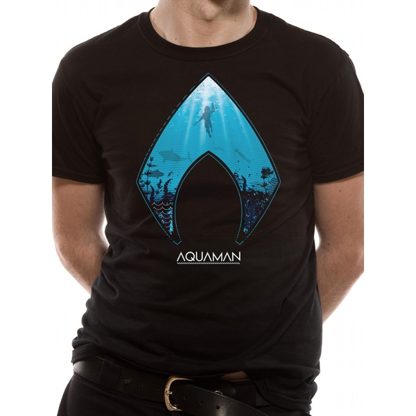 Aquaman Movie - Logo And Symbol Men's Large T-Shirt - Black