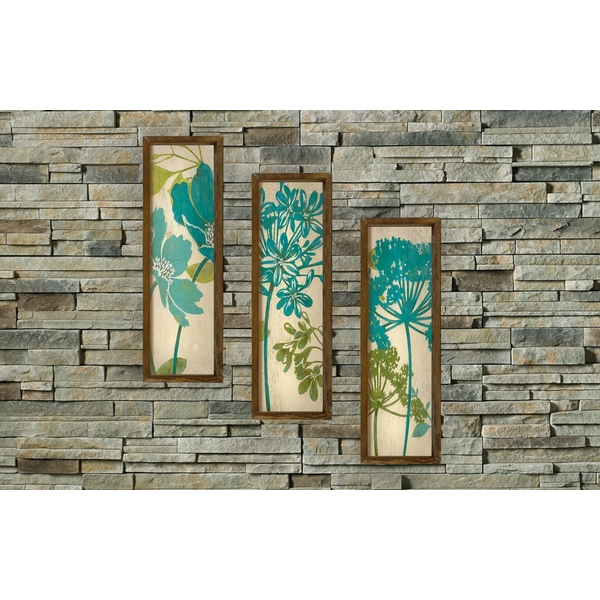 KZM395 Brown Beige Green Mint Decorative Framed MDF Painting (3 Pieces)