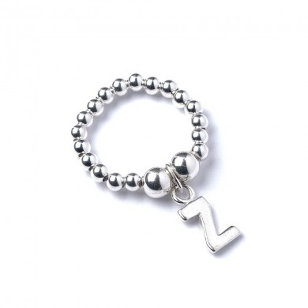 Initial Z Charm with Sterling Silver Ball Bead Ring