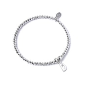 Initial D Charm with Sterling Silver Ball Bead Bracelet