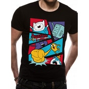 Adventure Time Pop Art Men's Small T-Shirt (Black)