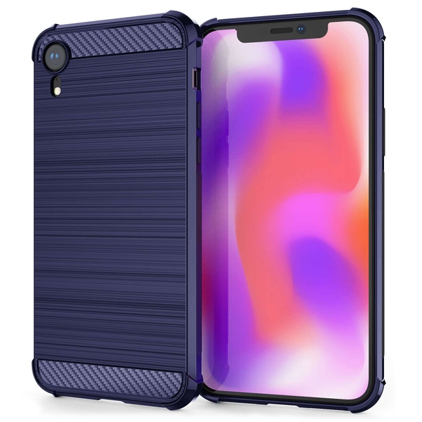 Caseflex iPhone XR Carbon Fibre Effect Gel Case - Blue