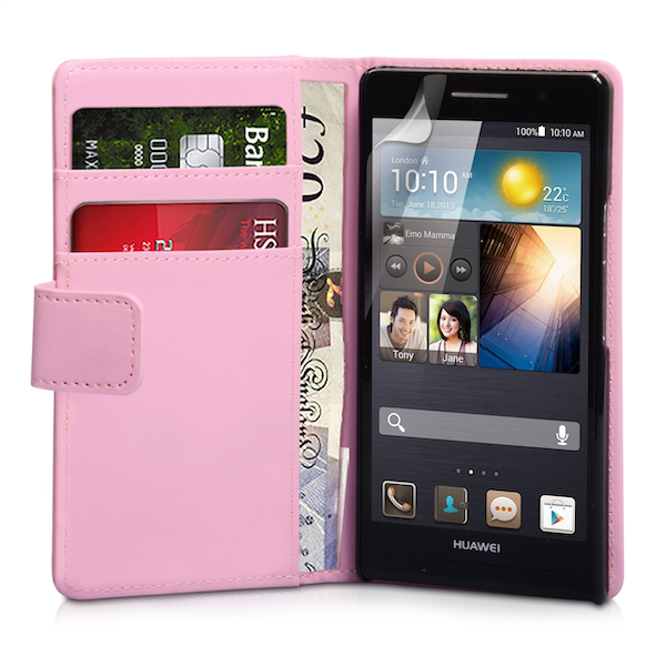 YouSave Accessories Huawei Ascend P6 Leather-Effect Wallet Case - Baby Pink