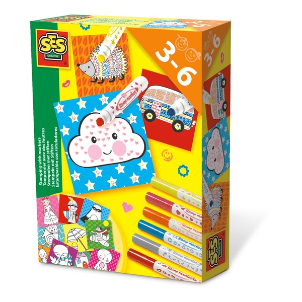 SES Creative - Children's Stamping with Markers Kit 6 Markers (Multi-colour)