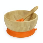 Bamboo Baby Suction Bowl & Spoon - Orange | M&W