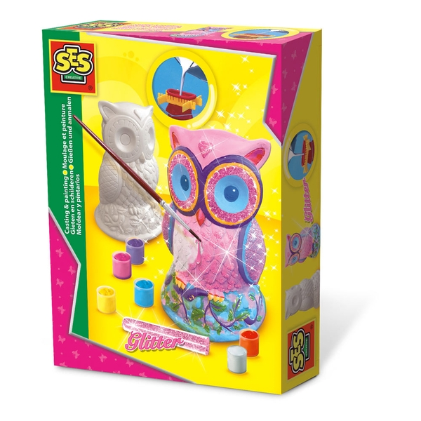SES Creative - Children's Owl Casting and Painting Set 6-12 Years (Multi-colour)