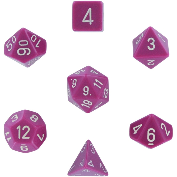 Chessex Opaque Poly 7 Set: Light Purple/White
