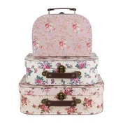 Sass & Belle Vintage (Set of 3) Rose Suitcases
