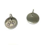 Long Paws Antique Nickel Plated Dog tag with a Paw Design