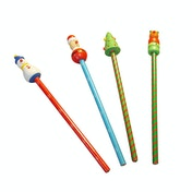 Wooden Christmas Character Pencils (Pack of 4)