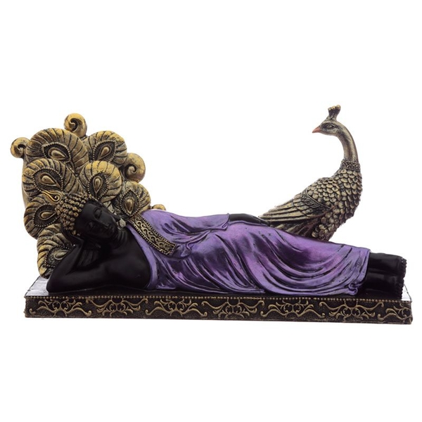 Purple and Black Thai Buddha with Peacock
