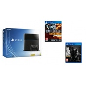 PlayStation 4 (500GB) Black Console + Battlefield Hardline + The Last of Us