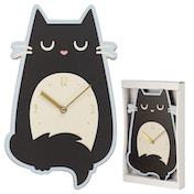 Feline Fine Cat Shaped Wall Clock