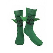 Star Wars Adult Male Yoda Floppy 3D Ears Crew Socks, 43/46, Green