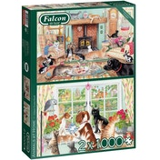 Falcon de luxe Animals at Home 2-Pack Jigsaw Puzzle - 1000 Pieces