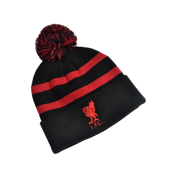 Liverpool Striped Ski Bobble Knitted Hat Red Black