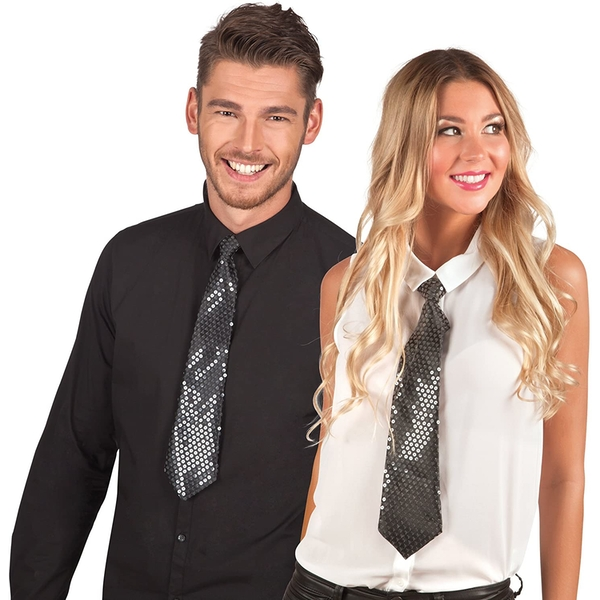 Black Tie With Transparent Sequins For Adults