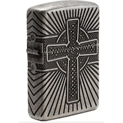 Zippo Unisex's Celtic Cross Design Antique Silver Windproof Lighter