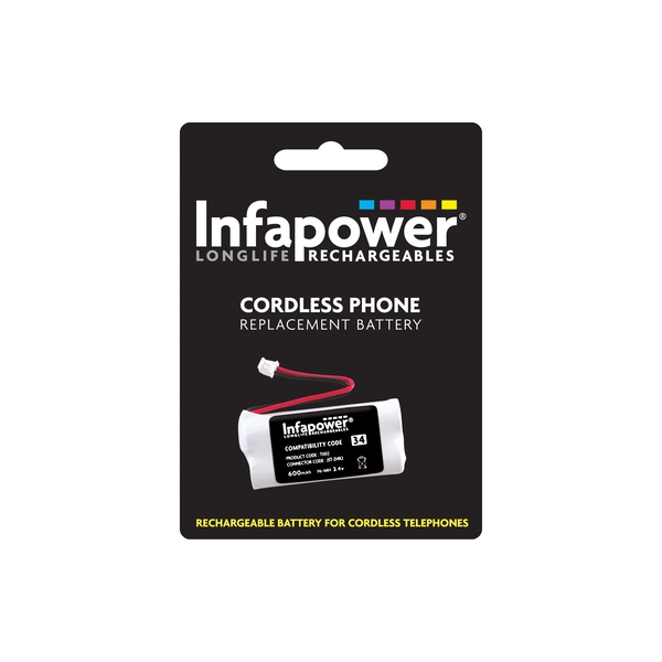 Infapower Rechargeable Ni-MH Battery for Cordless Telephones 2 x AAA 2.4v 600mAh