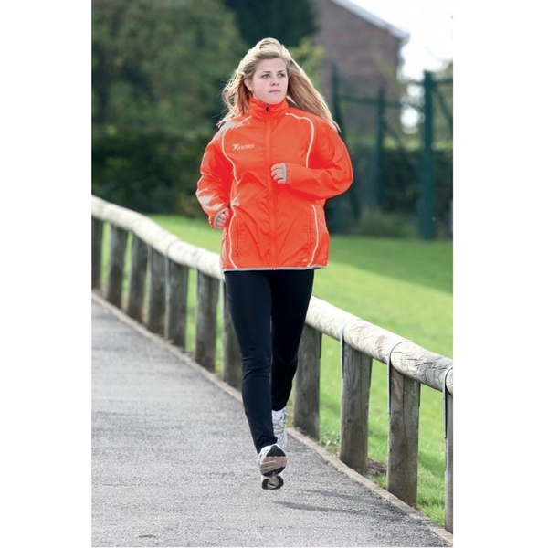 "PT Ladies Running Rain Jacket ""Sun"" Orange/Silver 10 (34inch)"