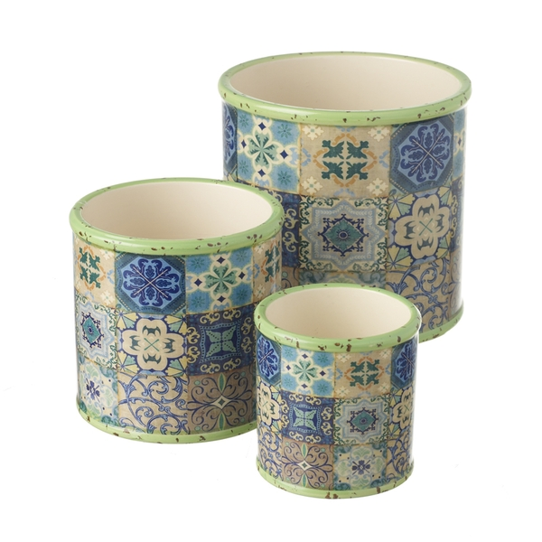 Mosaic Patterned Planter Boxes Set of 3 By Heaven Sends
