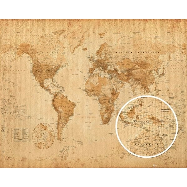 World Map Antique Style Mini Poster - Image 1