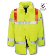 Black Knight Large Tor 3/4 Traffic High Visibility Jacket With Red Braces - Yellow