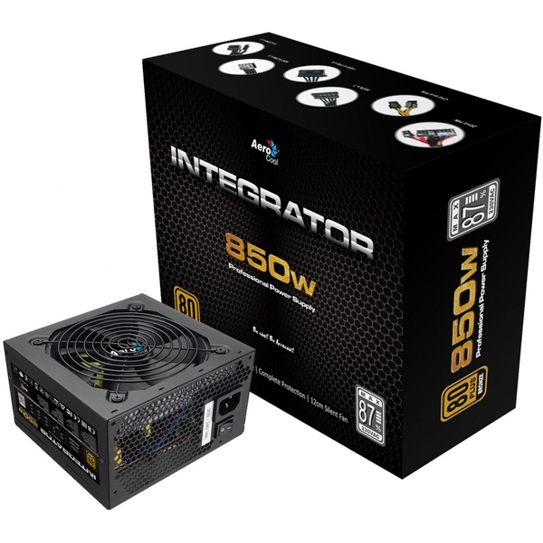 Aerocool Integrator 850W PSU 12cm Black Fan Active PFC TW Caps UK Cable
