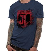 Justice League Movie - Shield Men's Small T-Shirt - Blue
