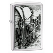 Zippo Resting Cow boy Emblem Brushed Chrome Windproof Lighter