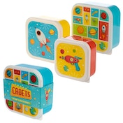 Space Design Set of 3 Plastic Lunch Boxes