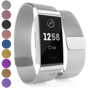 YouSave Milanese Metal Strap - Silver compatible with Fitbit Charge 3