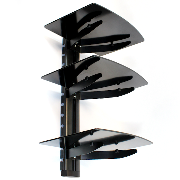 Tempered Black Glass Floating Shelf Wall Mount Consoles/DVD players M&W 3 Tier - Image 2