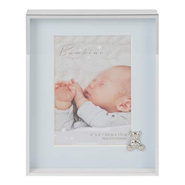 "4"" x 6"" - Bambino Silver Finish Frame - Teddy & Blue Mount"