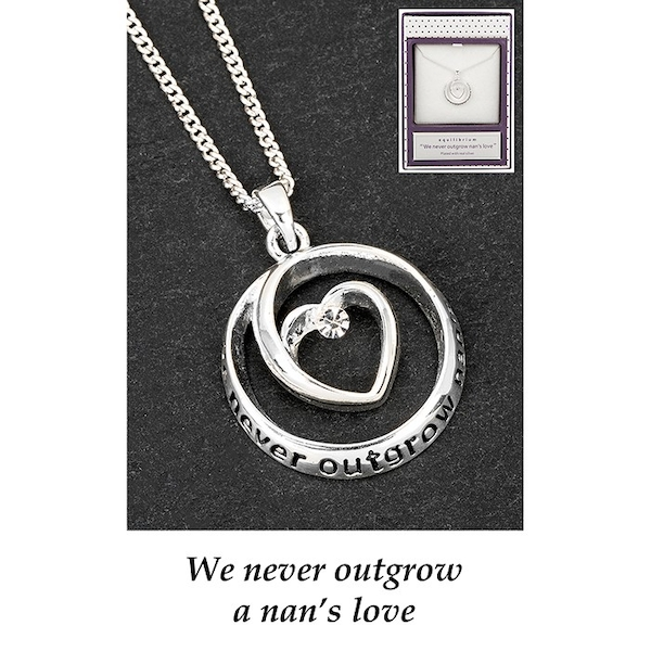 Equilibrium Silver Plated Heart Circle Nan Necklace