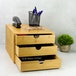 Bamboo Desktop 3 Drawer | M&W Slim Opening - Image 2