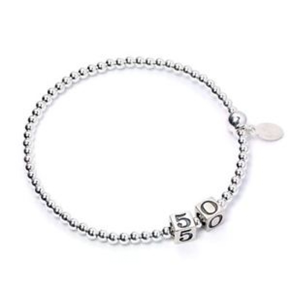 50 Number Cubes with Sterling Silver Ball Bead Bracelet