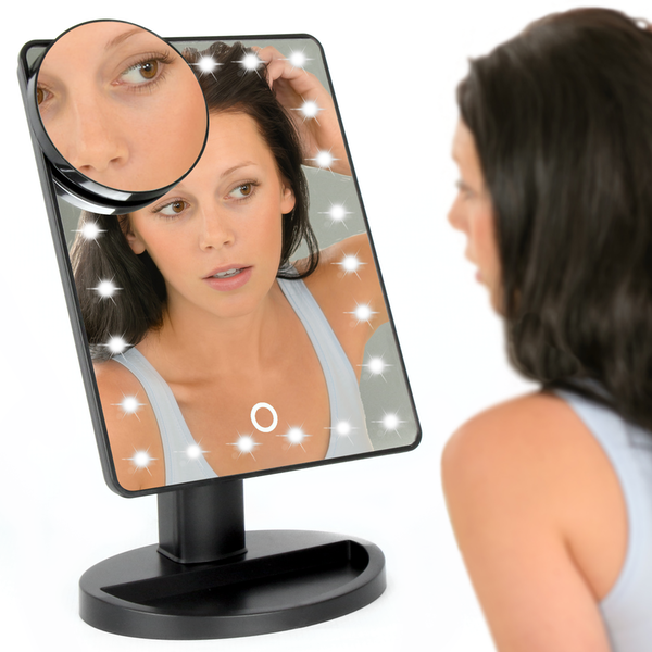 LED Light Up Illuminated Make Up Bathroom Mirror With Magnifier | M&W Black New - Image 3
