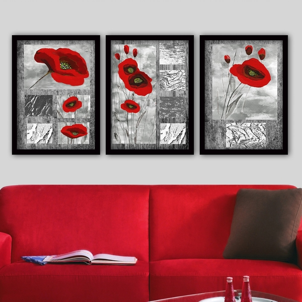 3SC120 Multicolor Decorative Framed Painting (3 Pieces)