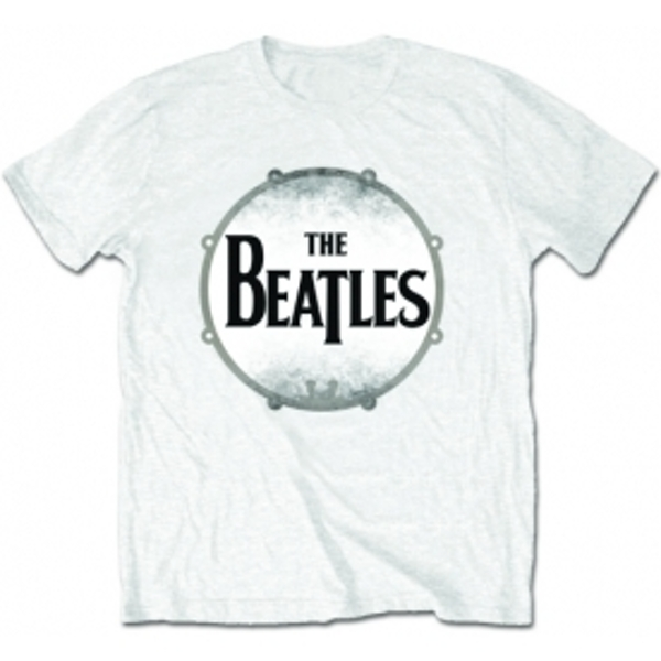 The Beatles Drumskin White T Shirt: Small