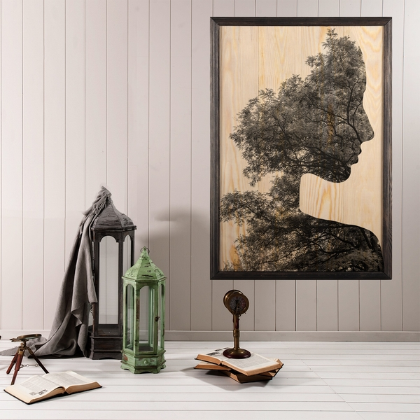Woman Forest Multicolor Decorative Framed Wooden Painting