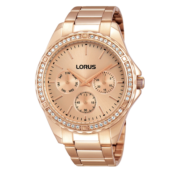 Lorus RP650BX9 Ladies Rose Gold Bracelet Watch with 48 Crystal Elements