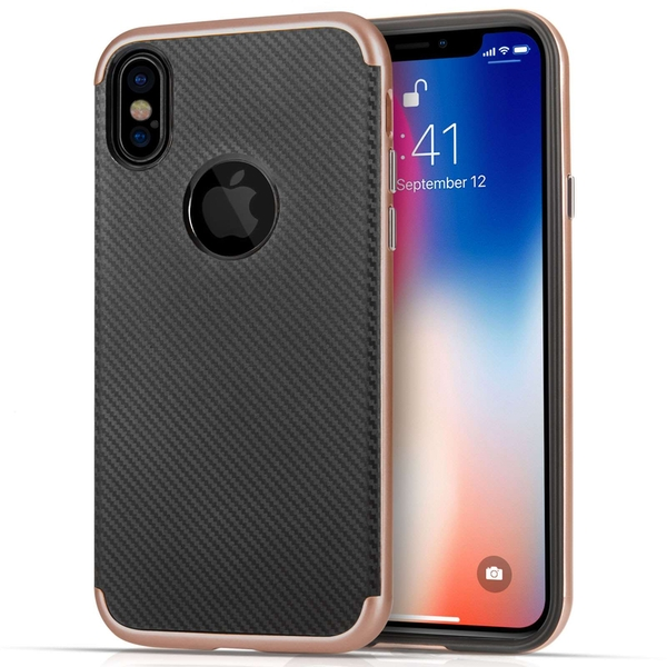 Compare prices with Phone Retailers Comaprison to buy a Apple iPhone X Carbon Fibre TPU PC Gel Case - Rose Gold